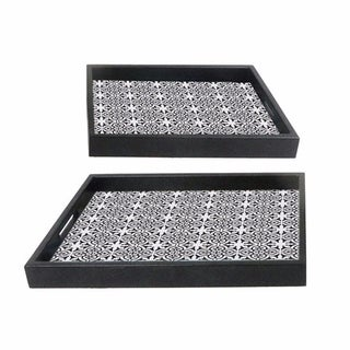 Floral Patterned Set Of Two Trays, White
