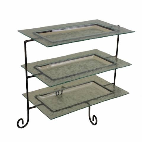 Artistic 3 Tier Glass Tray Metal Stand,Black
