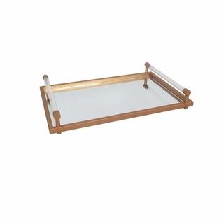 Metal Finish Mirrored Tray With Acrylic Handles, Clear & Copper
