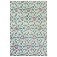 "Floral Panel Blue/ Ivory Mixed Pile Indoor-Outdoor Area Rug - 7'10"" x 10'"