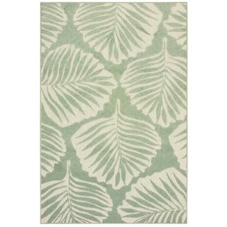 """Havenside Home King Cove Tropical Leaf Green/ Ivory Mixed Pile Indoor/ Outdoor Area Rug - 9'10"""" x 12'10"""""""