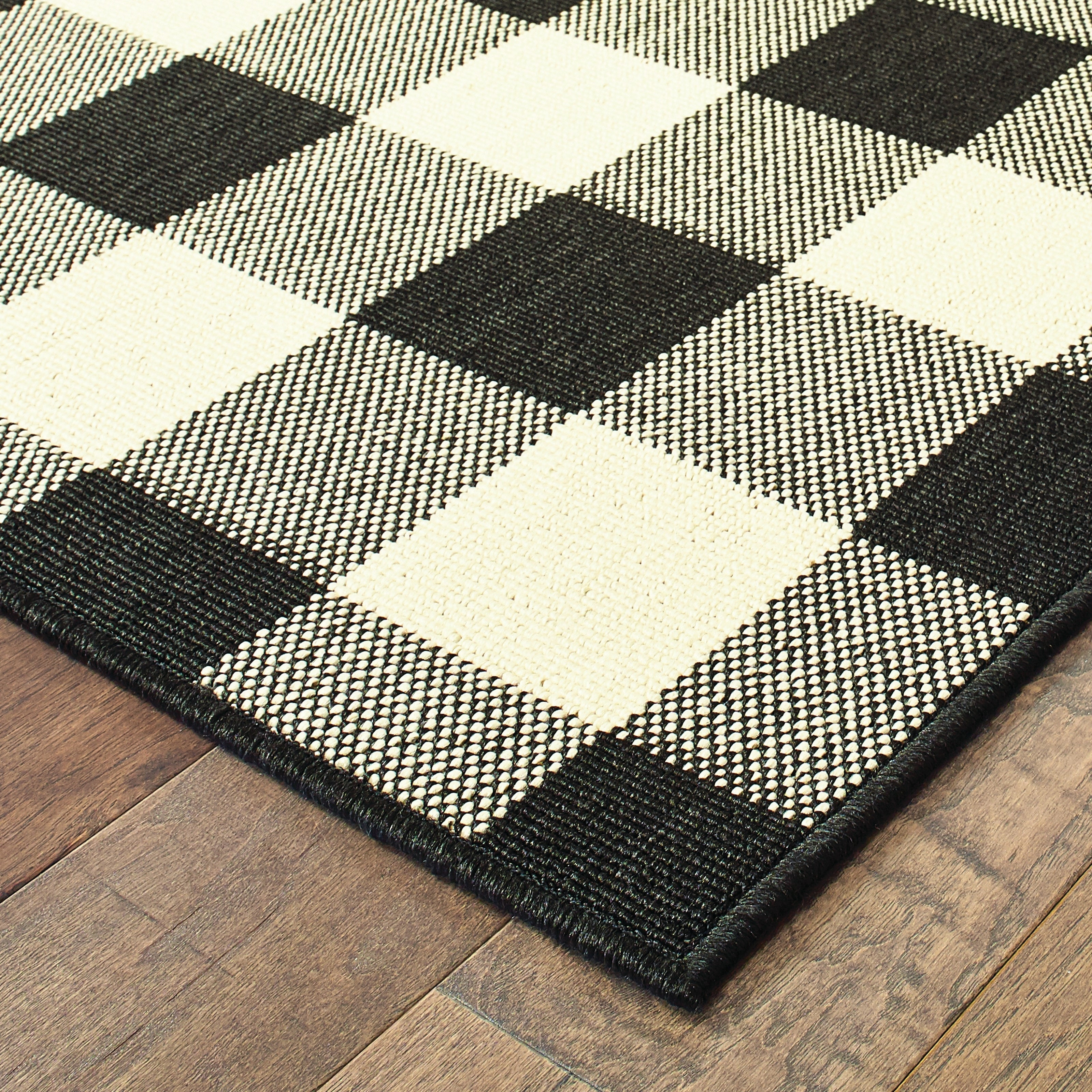 The Gray Barn Garland Gale Gingham Check Black Ivory Loop Pile Indoor Outdoor Area Rug 7 10 X 10 10