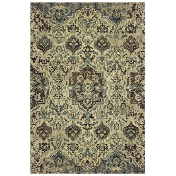 """Copper Grove Solin Borderless Traditional Ivory and Grey Dense Pile Area Rug - 1'10 x 3' - 1'10"""" x 3'"""