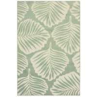 "Tropical Leaf Green/ Ivory Mixed Pile Indoor-Outdoor Area Rug - 6'7"" x 9'6"""