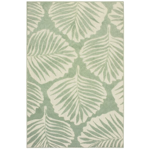 """Havenside Home King Cove Tropical Leaf Green/ Ivory Mixed Pile Indoor/ Outdoor Area Rug - 6'7"""" x 9'6"""""""