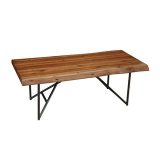 Acaia Wood Coffee/Cocktail Table With Metal Legs Brown