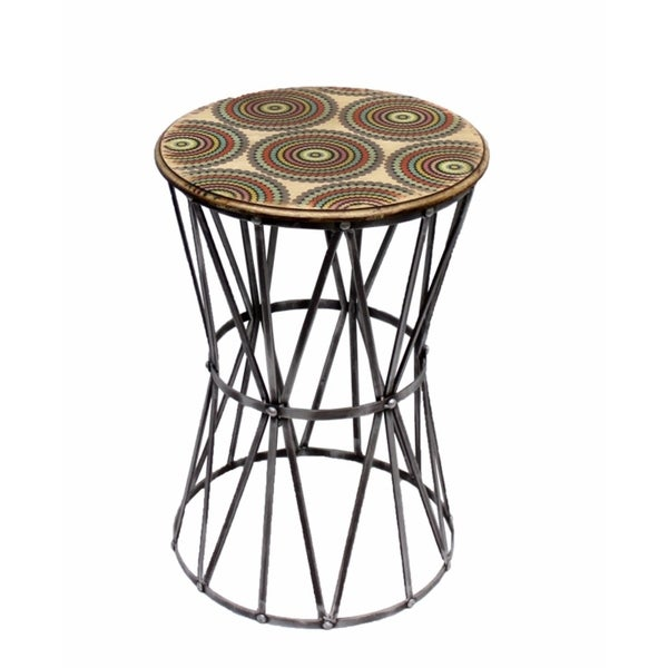 Graciously Designed Metal Accent Table,Multicolor