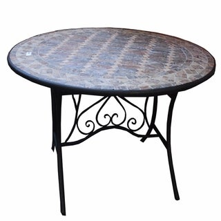 Solid Colorful Round Mosaic Table, Multicolor
