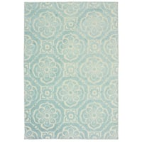 """Floral Medallions Blue/ Ivory Mixed Pile Indoor-Outdoor Area Rug - 9'10"""" x 12'10"""""""