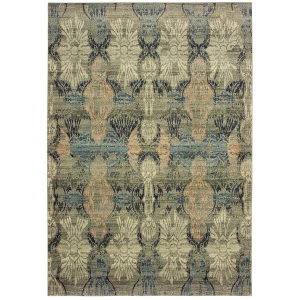 "Distressed Floral Ivory/ Grey Dense Pile Area Rug - 7'10"" x 10'10"""