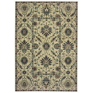 """New Traditions Floral Ivory/ Navy Dense Pile Area Rug - 9'10"""" x 12'10"""""""