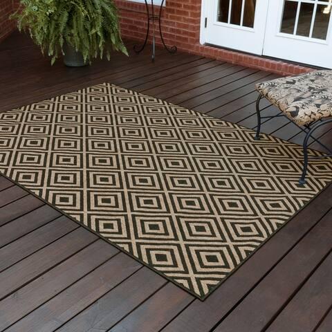 Port Graham Geometric Diamond Black/ Tan Loop Pile Indoor/ Outdoor Area Rug by Havenside Home