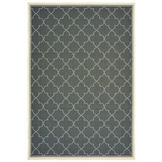 "Havenside Home Pelican Simple Lattice Grey/ Ivory Loop Pile Indoor/ Outdoor Area Rug - 1'9"" x 3'9"""