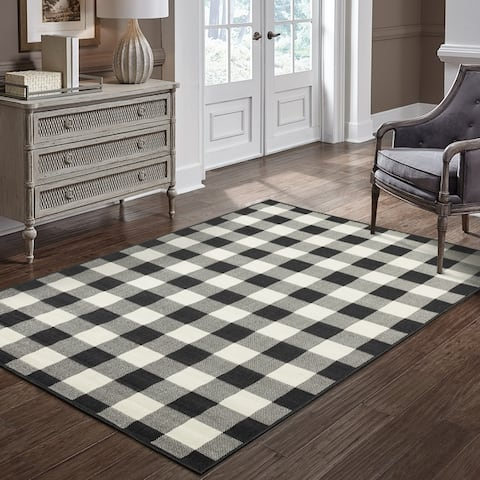 The Gray Barn Told Gait Indoor/ Outdoor Gingham Check Area Rug