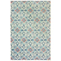 Floral Panel Blue/ Ivory Mixed Pile Indoor-Outdoor Area Rug - 5'3 x 7'6