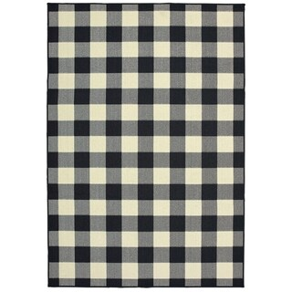 "The Gray Barn Garland Gale Gingham Black and Ivory Indoor/ Outdoor Area Rug - 5'3"" x 7'6"""