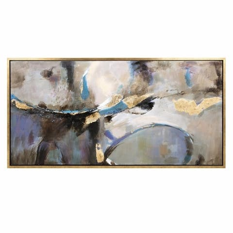 Canvas Abstract Oil Painting with Pine Wood Frame, Multicolor