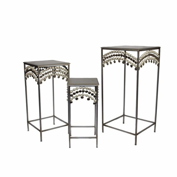 Set Of 3 Resplendent Metalic Accent Table, Silver