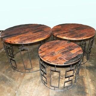 Wood/Metal Table Set, Brown, Set Of 3