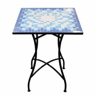 Mosaic/Metal Square Table, Blue