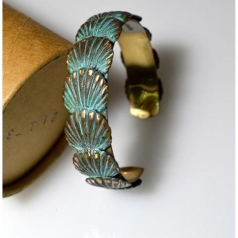 Handmade Patina Overlapping Shells Cuff Bracelet (USA)