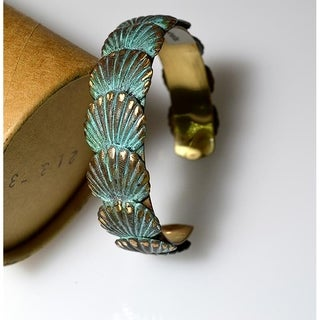 Verdigris Patina Brass Overlapping Scallop Shells Cuff