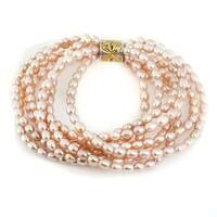 Michael Valitutti Palladium Silver Freshwater Cultured Pink Pearl Multi Strand Bracelet