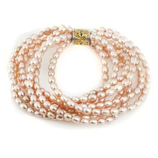 Michael Valitutti Palladium Silver Freshwater Cultured Pink Pearl Multi Strand Bracelet (3 options available)