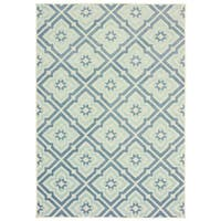 "Trefoil Floral Lattice Blue/ Ivory Mixed Pile Indoor-Outdoor Area Rug - 9'10"" X 12'10"""