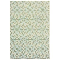 Floral Panel Ivory/ Green Mixed Pile Indoor-Outdoor Area Rug - 7'10 x 10'