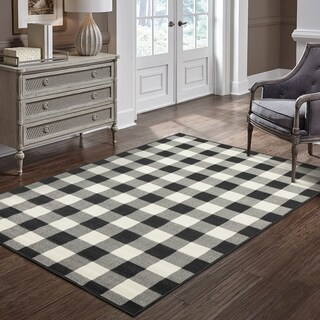 """The Gray Barn Garland Gale Gingham Check Black/ Ivory Loop Pile Indoor-Outdoor Area Rug - 8'6"""" x 13'"""
