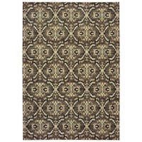 "Distressed Geometric Brown/ Navy Dense Pile Area Rug - 7'10"" x 10'10"""