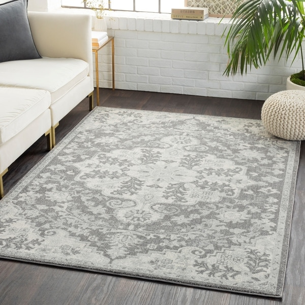 "Cali Gray Distressed Bohemian Medallion Area Rug  - 9'3"" x 12'6"""