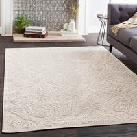 Gracewood Hollow Benlabed Cream Damask Chenille Area Rug - 6'6 x 9'6
