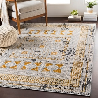 "Padua Yellow & Gray Distressed Mosaic Area Rug (9'3"" x 12'3"") - 9'3"" x 12'3"""