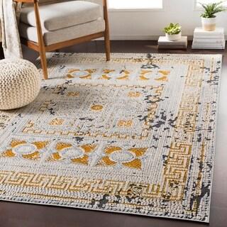 "Padua Yellow & Gray Distressed Mosaic Area Rug (9'3"" x 12'3"") - 9'3"" x 12'3"""