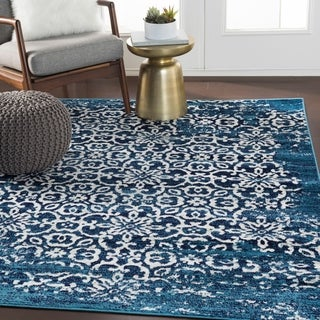 Tours Navy Overdyed Damask Area Rug - 7'10 x 10'3
