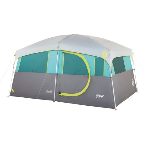 Coleman Tenaya Lake Lighted 8 Person Cabin Tent, Teal/Gray