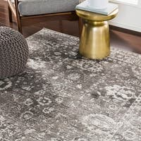 Reimes Grey Distressed Traditional Area Rug - 7'10 x 10'3