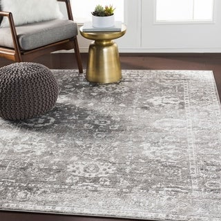 "Reimes Gray Distressed Traditional Area Rug - 7'10"" x 10'3"" - 7'10"" x 10'3"""