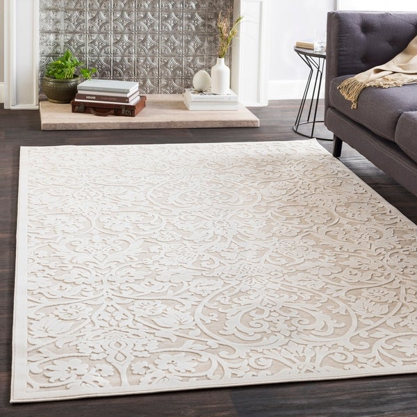 Shop Adalyn Cream Chenille Damask Area Rug 67 X 96 On Sale