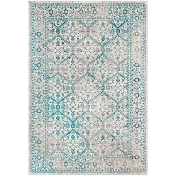 "Raquel Teal Distressed Traditional Area Rug (7'10"" x 10'3"") - 7'10"" x 10'3"""