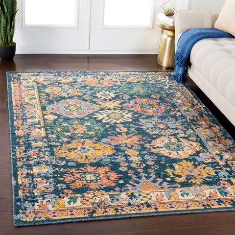 Emmett Navy Traditional Wool Blend Area Rug - 8' x 11'