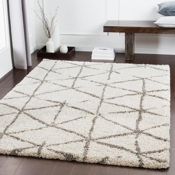 "Charlie Ivory Modern Lines Shag Area Rug (6'7"" x 9'6"") - 6'7"" x 9'6"""