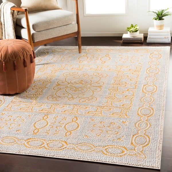 "Lucca Yellow Distressed Mosaic Area Rug - 7'10"" x 10'3"""