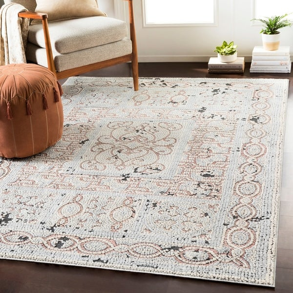 "Lucca Beige & Gray Distressed Mosaic Area Rug - 7'10"" x 10'3"""