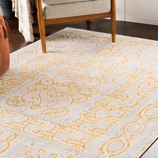 """Lucca Yellow Distressed Mosaic Area Rug (9'3"""" x 12'3"""") - 9'3"""" x 12'3"""""""