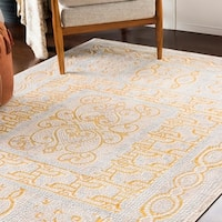 "Lucca Yellow Distressed Mosaic Area Rug (9'3"" x 12'3"")"