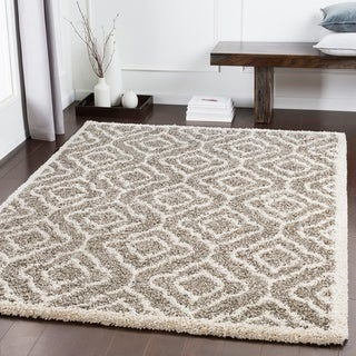 "Bette Brown Moroccan Trellis Shag Area Rug (9'3"" x 12'3"") - 9'3"" x 12'3"""