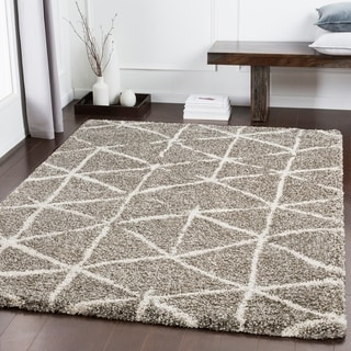 "Charlie Khaki Modern Lines Shag Area Rug (9'3"" x 12'3"") - 9'3"" x 12'3"""